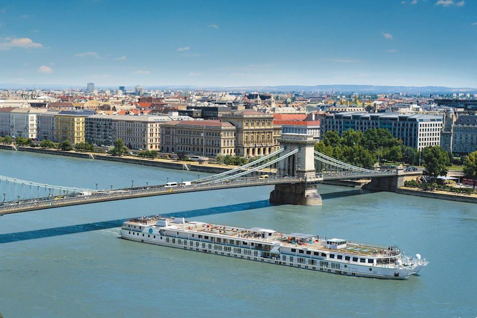 Aerial view of Crystal Mozart by Crystal Cruises in Budapest