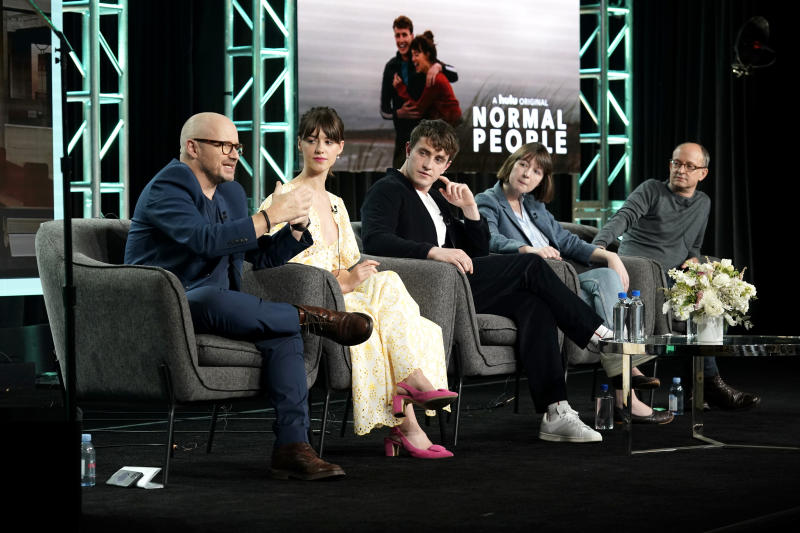 Lenny Abrahamson, Daisy Edgar-Jones, Paul Mescal, Sally Rooney, and Ed Guiney during the Hulu Panel at Winter TCA 2020. (Photo by Erik Voake/Getty Images for Hulu)