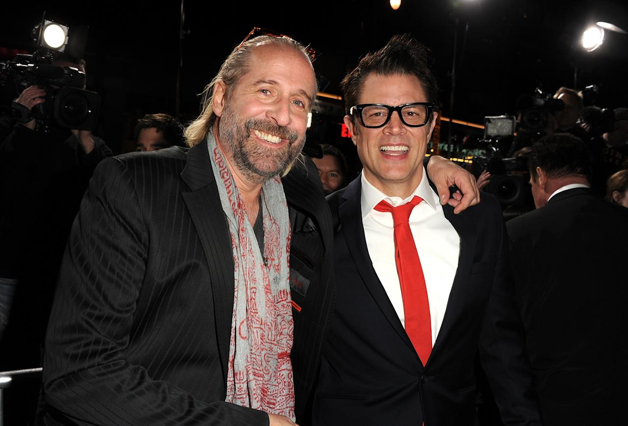 "HOLLYWOOD, CA - JANUARY 14:  Actors Peter Stormare (L) and Johnny Knoxville arrive at the premiere of Lionsgate Films' ""The Last Stand"" at Grauman's Chinese Theatre on January 14, 2013 in Hollywood, California.  (Photo by Kevin Winter/Getty Images)"