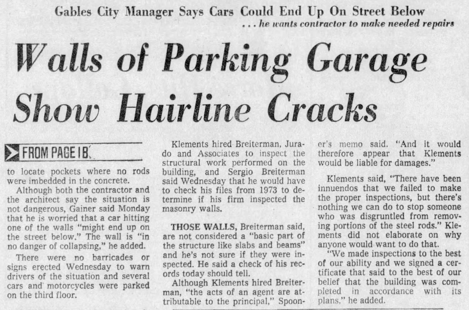A Jan. 8, 1976, article in the Miami Herald details how the City of Coral Gables discovered the concrete in part of the new Public Safety Building was missing essential reinforcing steel.