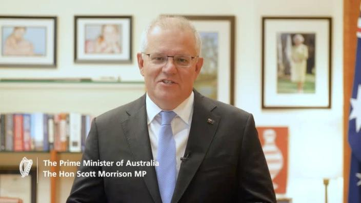 Australian Prime Minister Scott Morrison speaks in a 2021 video by Irish Department Of Foreign Affairs with St Patrick's Day wishes