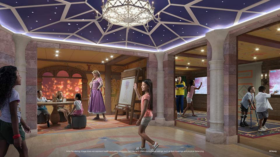 <p>Fairytale Hall is a royal trio of activity rooms where kids ages 3 to 12 will let their creativity shine at Rapunzel's Art Studio, read and act out stories at Belle's Library, and test newfound icy powers at Anna and Elsa's Sommerhus. (Disney)</p>