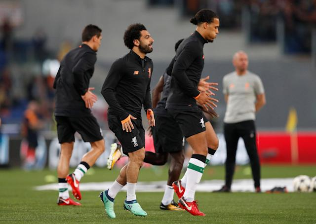 Soccer Football - Champions League Semi Final Second Leg - AS Roma v Liverpool - Stadio Olimpico, Rome, Italy - May 2, 2018 Liverpool's Mohamed Salah and Virgil van Dijk during the warm up before the match Action Images via Reuters/John Sibley