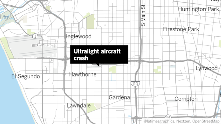 An ultralight aircraft crashed at Hawthorne Municipal Airport on Monday.