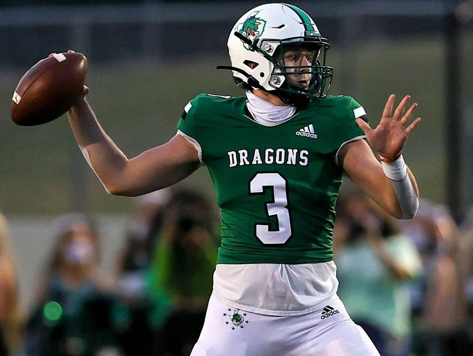 Southlake Carroll quarterback Quinn Ewers looks to pass against Rockwall Heath during the first half of a High School Football game, Friday night, October 2, 2020 played at Dragon Stadium in Southlake, Texas.