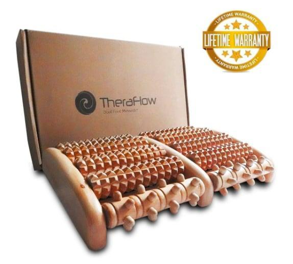 """<p>Glide your feet over the <span>TheraFlow Dual Foot Massager</span> ($17) and let the acupressure nubs work reflexology magic on your pain. The device's 10 free-moving rollers work to reach all the configurations in your feet so no spot goes unmassaged.</p> <p>Click <a href=""""https://www.popsugar.com/smart-living/Health-Wellness-Tips-46521311"""" class=""""link rapid-noclick-resp"""" rel=""""nofollow noopener"""" target=""""_blank"""" data-ylk=""""slk:here for more health and wellness stories, tips, and news"""">here for more health and wellness stories, tips, and news</a>.</p>"""