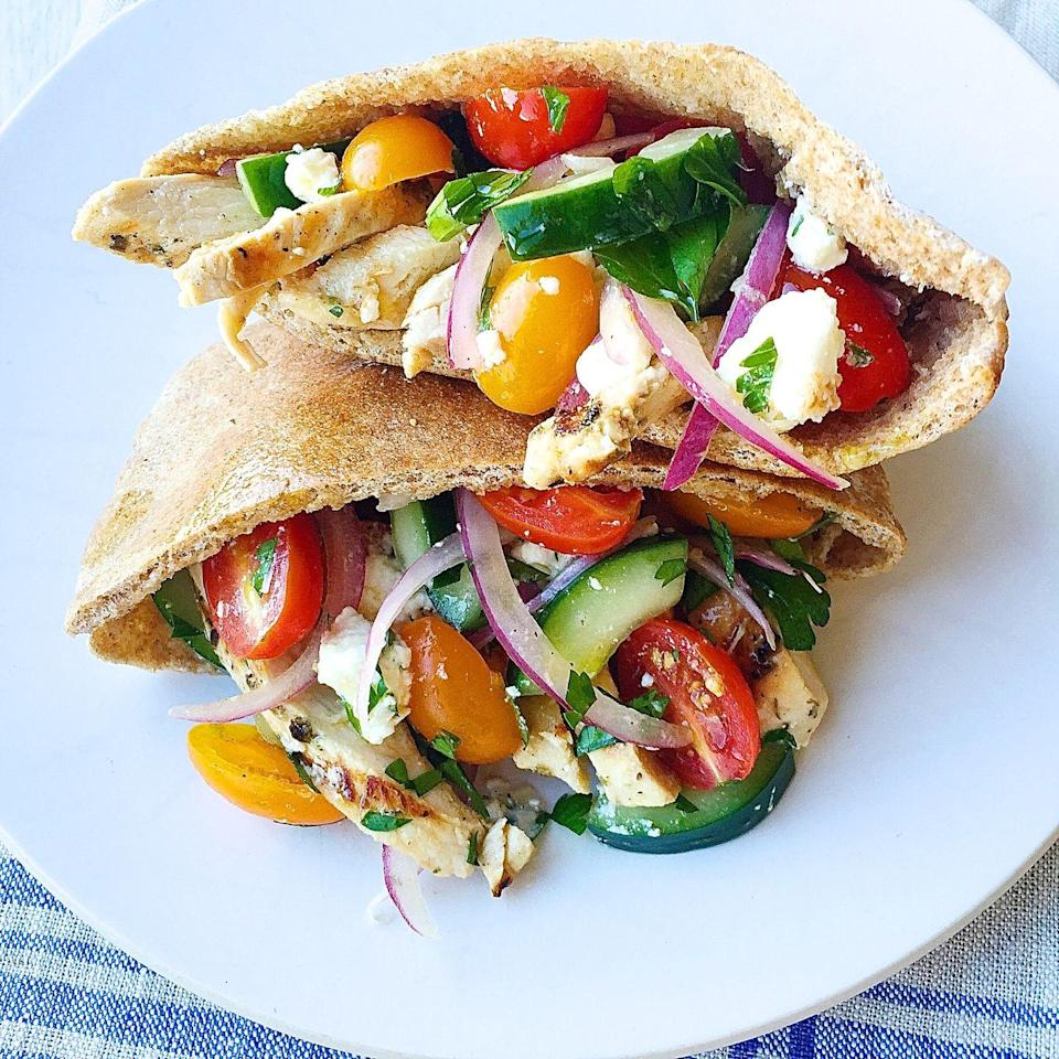 """<p>Get a little Greek this week with these zesty fully-loaded pita breads.</p><p>Get the recipe from <a href=""""https://www.delish.com/cooking/recipe-ideas/recipes/a44546/greek-salad-pita-pockets-grilled-chicken-recipe/"""" rel=""""nofollow noopener"""" target=""""_blank"""" data-ylk=""""slk:Delish"""" class=""""link rapid-noclick-resp"""">Delish</a>.</p><p><a class=""""link rapid-noclick-resp"""" href=""""https://www.amazon.com/Creuset-Ink-Inch-Pepper-Mill/dp/B01NCU7F4R/?tag=syn-yahoo-20&ascsubtag=%5Bartid%7C1782.g.2180%5Bsrc%7Cyahoo-us"""" rel=""""nofollow noopener"""" target=""""_blank"""" data-ylk=""""slk:BUY NOW"""">BUY NOW</a> <strong><em>Le Creuset Pepper Mill, $43, amazon.com</em></strong><br></p>"""