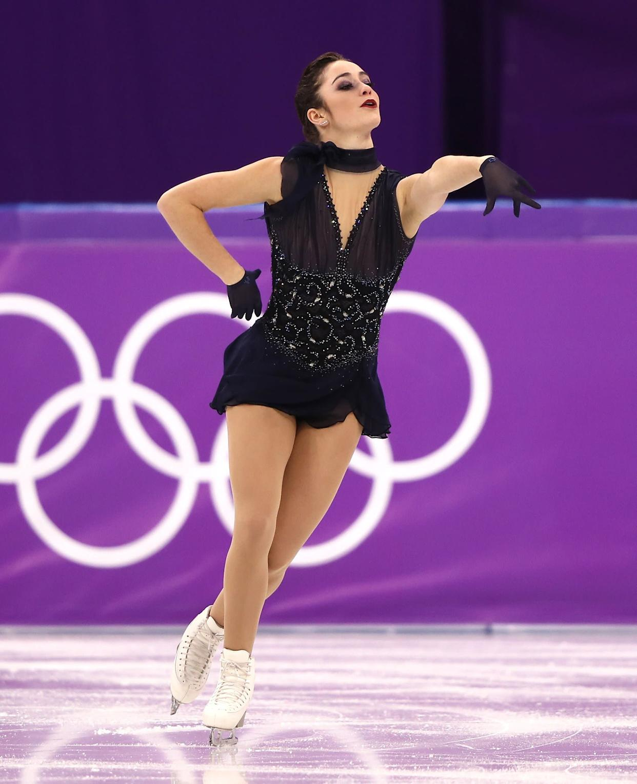 This costume, worn by the Canadian athlete for her short program, was one of our favorites of the competition.It looked beautiful on Osmond and definitely conveyed the Parisian aesthetic -- she performed to music by Edith Piaf -- she was going for.