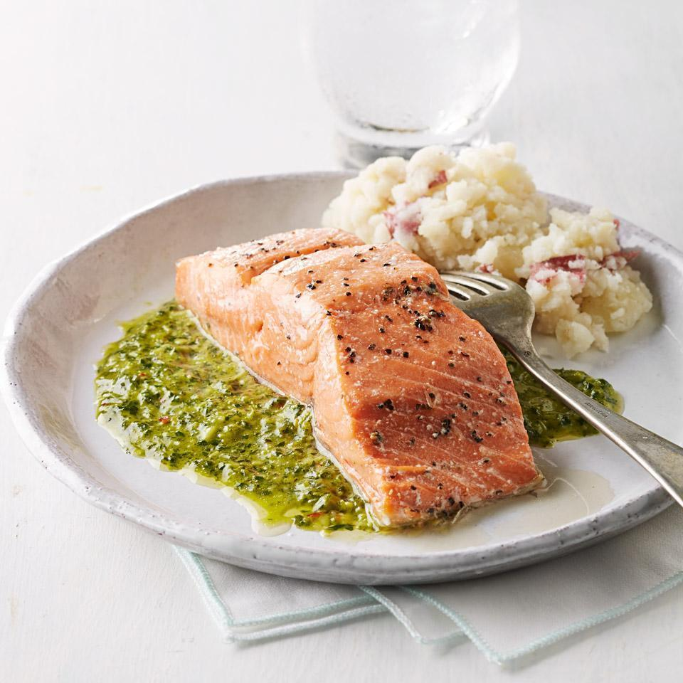 <p>Chimichurri--a bright, herby sauce served across Argentina--is the perfect healthy sauce for an easy salmon dinner. This recipe uses parsley but feel free to try your favorite combination of herbs, such as basil, mint or cilantro. Serve with mashed potatoes and roasted broccoli.</p>