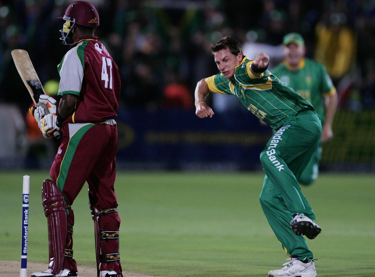 PORT ELIZABETH, SOUTH AFRICA - DECEMBER 16:  Dwayne Bravo of the West Indies is bowled by Dale Steyn for a duck  during the Standard Bank International Pro20 match between South Africa and West Indies held at Sahara Oval December 16, 2007 in St Georges, Port Elizabeth, South Africa. (Photo by Duif du Toit/Gallo Images/Getty Images)