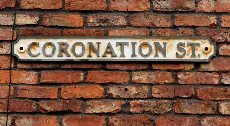 A general view of the Coronation Street sign in Manchester, as the Duchess of Cornwall visited the set today.