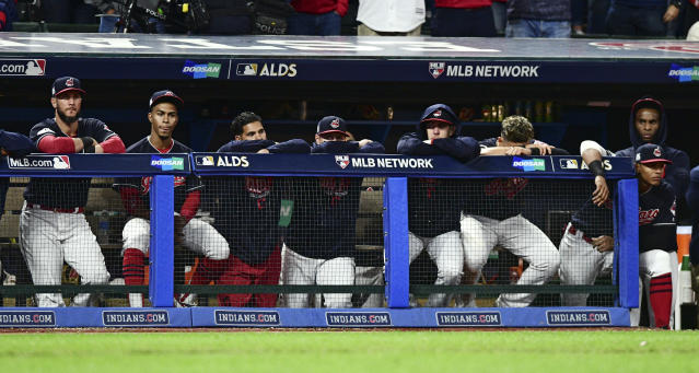 The Indians watch during the ninth inning against the Yankees in Game 5 on Wednesday night. (AP)