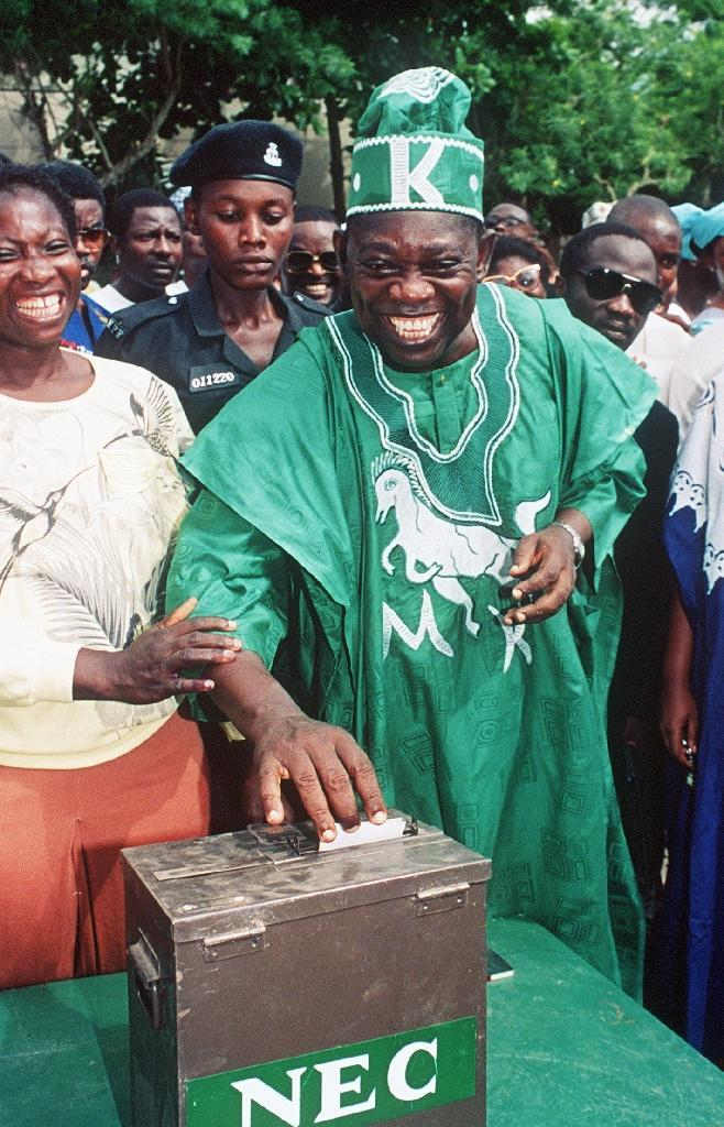 Moshood Abiola casting his vote in the historic 1993 elections (AFP Photo/FRANCOIS ROJON)