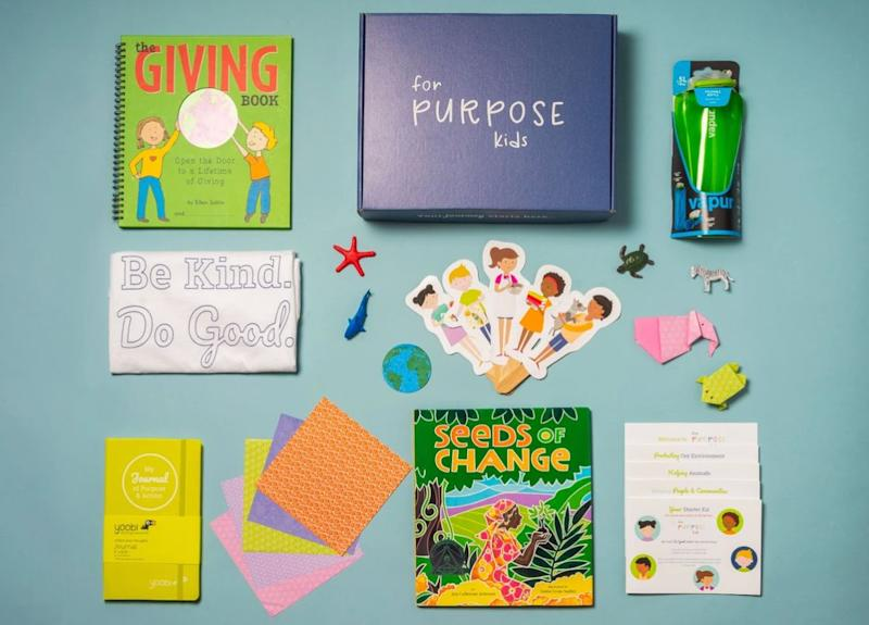 "Yes, there are things<i>&nbsp;</i>in this kids subscription box that encourages kindness and activism. But each item helps kids connect to the world around them. Get a pre-paid quarterly subscription for $159.95 from <a href=""https://forpurposekids.com/collections/subscription-boxes/products/pre-paid-quarterly-subscription-1"" target=""_blank"" rel=""noopener noreferrer"">For Purpose Kids</a>."