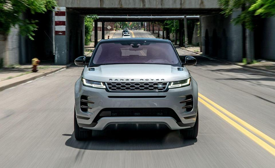 """<p>The <a href=""""https://www.caranddriver.com/land-rover/range-rover-evoque"""" rel=""""nofollow noopener"""" target=""""_blank"""" data-ylk=""""slk:Land Rover Range Rover Evoque"""" class=""""link rapid-noclick-resp"""">Land Rover Range Rover Evoque</a> is the LR version of the Jaguar E-Pace. They ride on the same platform and use the same powertrains, but the Evoque tripled E-Pace sales in 2020 despite having the highest starting price on the list. Is it good? It's good looking. The Evoque has a lavish glow big enough to make most forget it's in a <a href=""""https://www.caranddriver.com/features/g15383346/best-subcompact-suv-ranked/"""" rel=""""nofollow noopener"""" target=""""_blank"""" data-ylk=""""slk:similar segment"""" class=""""link rapid-noclick-resp"""">similar segment</a> as the <a href=""""https://www.caranddriver.com/chevrolet/trailblazer"""" rel=""""nofollow noopener"""" target=""""_blank"""" data-ylk=""""slk:Chevy Trailblazer"""" class=""""link rapid-noclick-resp"""">Chevy Trailblazer</a>. We tested the 296-hp P300 model with 21-inch wheels on our 75-mph highway fuel economy loop, and it returned just 24 mpg. Every Evoque comes with a 10.0-inch infotainment touchscreen, navigation, head-up display, and wireless smartphone charging. </p><ul><li>Base price: $44,350</li><li>EPA Fuel Economy combined/city/highway: 22/20/27 mpg</li><li>Rear cargo space: 21 cubic feet</li></ul><p><a class=""""link rapid-noclick-resp"""" href=""""https://www.caranddriver.com/land-rover/range-rover-evoque/specs"""" rel=""""nofollow noopener"""" target=""""_blank"""" data-ylk=""""slk:MORE EVOQUE SPECS"""">MORE EVOQUE SPECS</a></p>"""