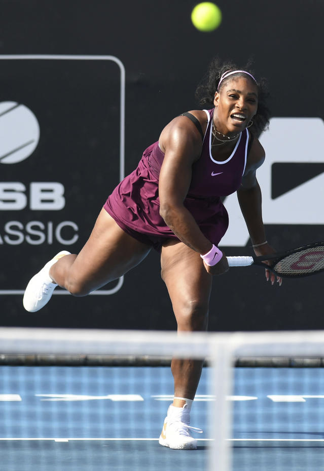 Serena Williams of the U.S., returns a shot during her semifinal singles match against her compatriot Amanda Anisimova at the ASB Classic in Auckland, New Zealand. Saturday, Jan. 11, 2020. (Andrew Cornaga/Photosport via AP)