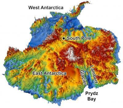 This 3-D reconstruction of the topography hidden under Antarctica's two-mile-thick coating of ice was made using data from radar surveys. The continent was relatively flat before glaciers started carving deep valleys 34 million years ago, a new