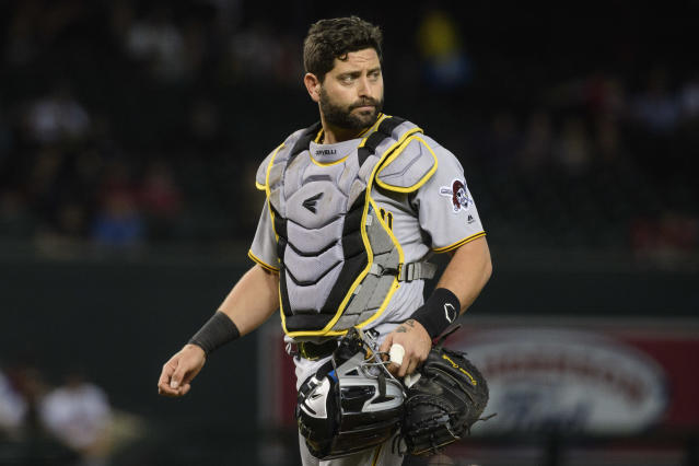 "It's the end of the road for <a class=""link rapid-noclick-resp"" href=""/mlb/players/8387/"" data-ylk=""slk:Francisco Cervelli"">Francisco Cervelli</a>'s catching career (Photo by Jennifer Stewart/Getty Images)"