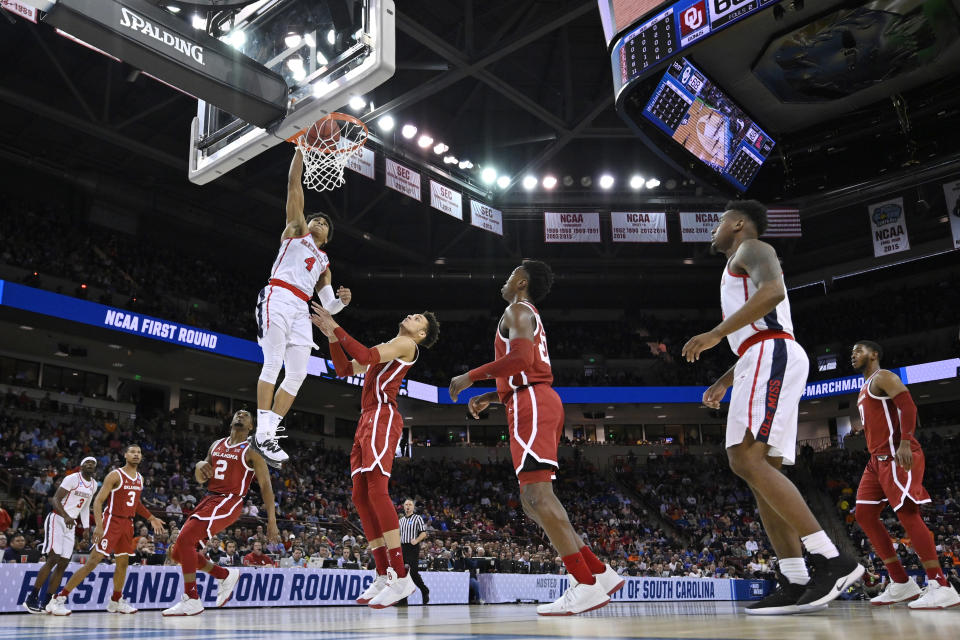 <p>Breein Tyree #4 of the Mississippi Rebels dunks the ball against the Oklahoma Sooners in the first round of the 2019 NCAA Men's Basketball Tournament held at Colonial Life Arena on March 22, 2019 in Columbia, South Carolina. (Photo by Grant Halverson/NCAA Photos via Getty Images) </p>