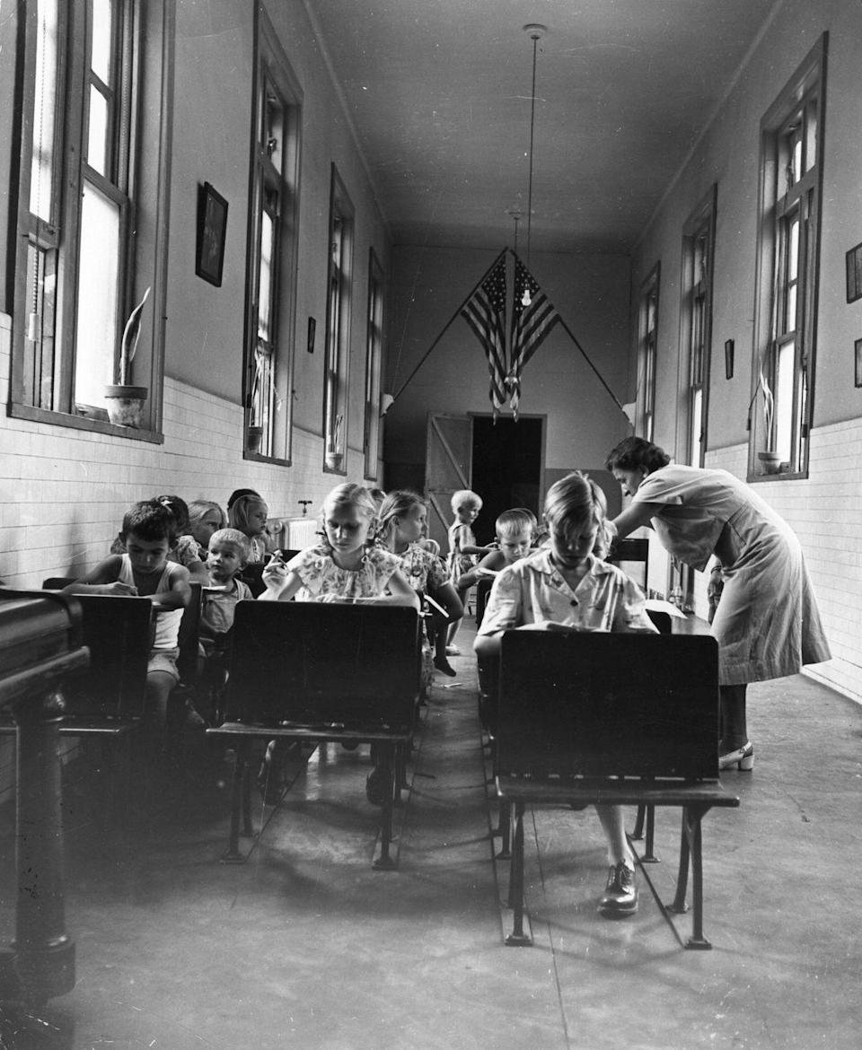 <p>Young immigrants, who came through New York's Ellis Island, at a nursery school learning how to speak several new languages.</p>