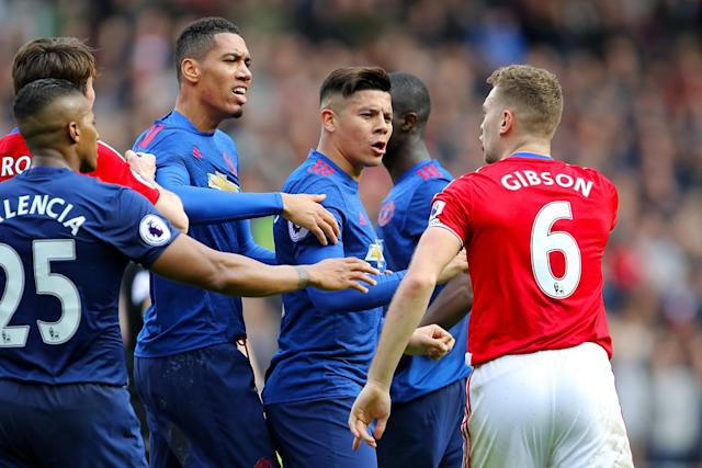 <p>Things got heated when Man United took on Middlesbrough </p>
