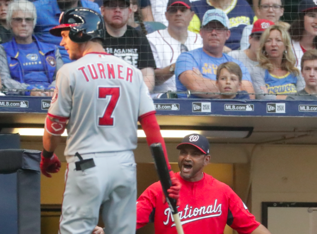 Trea Turner failed to run out a bunt during Monday's game. (AP Photo)