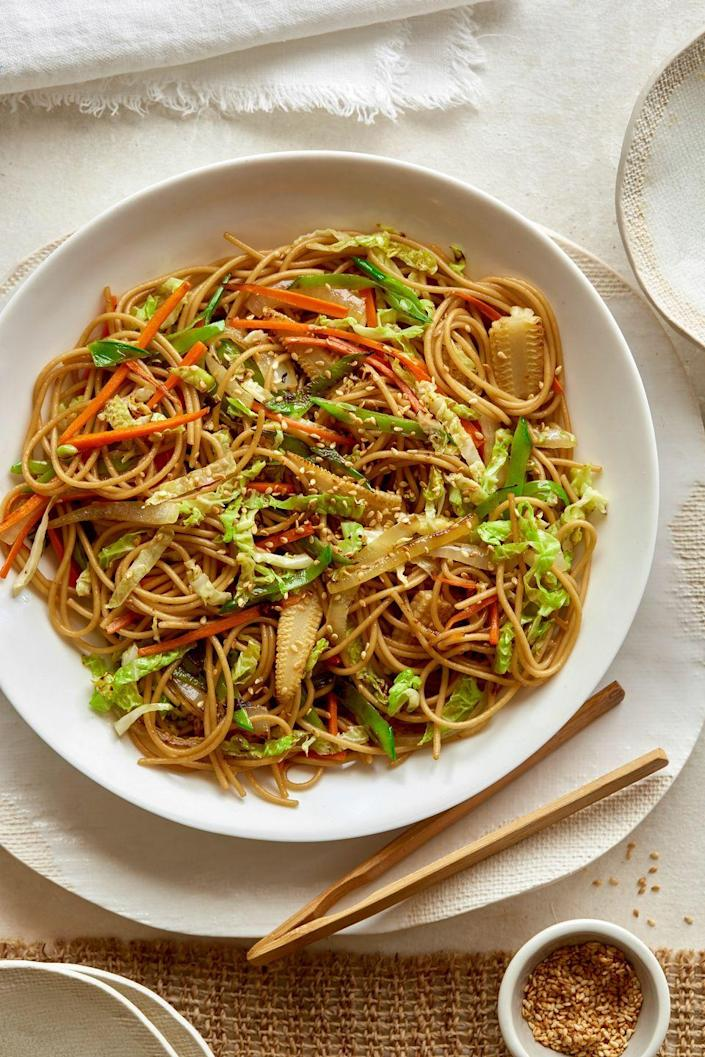"<p>This dish has been lightened up for Meatless Monday.</p><p>Get the recipe from <a href=""https://www.delish.com/cooking/recipe-ideas/recipes/a52522/loaded-veggie-chow-mein-recipe/"" rel=""nofollow noopener"" target=""_blank"" data-ylk=""slk:Delish"" class=""link rapid-noclick-resp"">Delish</a>.</p>"