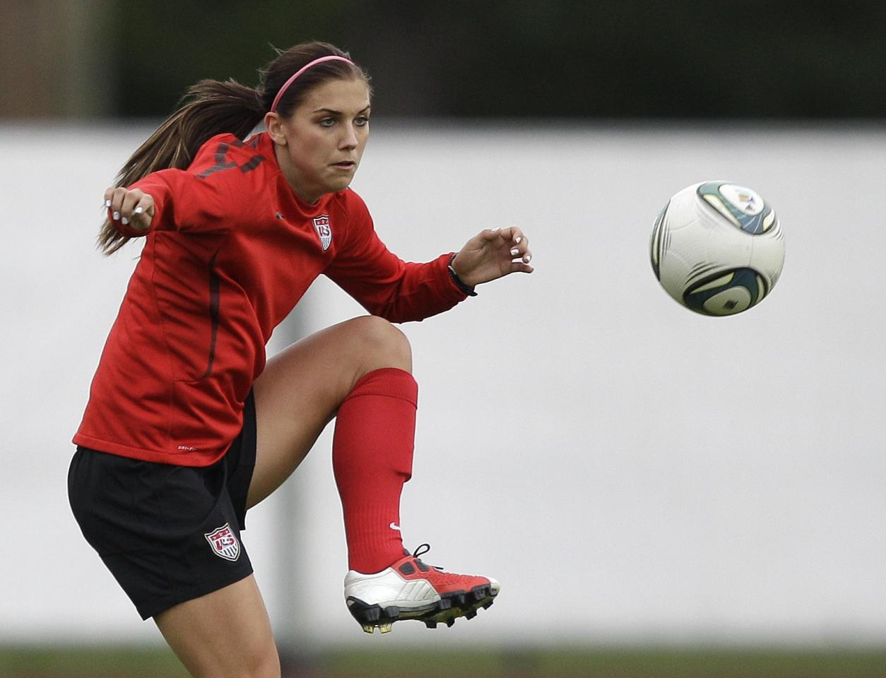 United States' Alex Morgan traps a pass during a training session in preparation for the final match against Japan during the WomenÕs Soccer World Cup in Frankfurt, Germany, Thursday, July 14, 2011. (AP Photo/Marcio Jose Sanchez)
