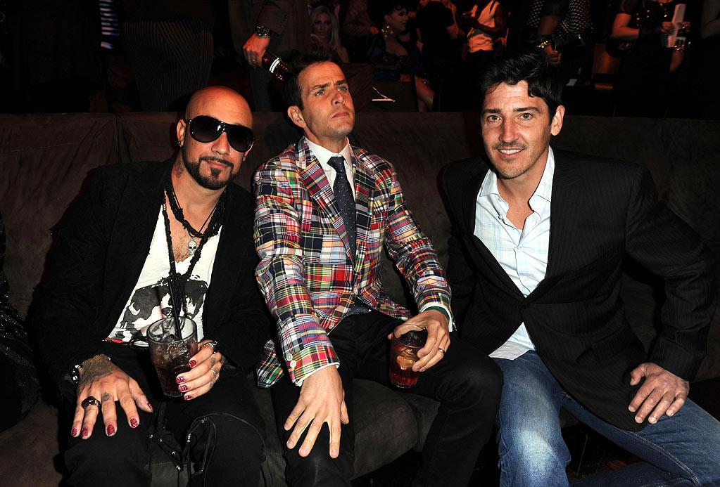 """No, you haven't taken a trip back to the '90s, but yes, it's New Kids on the Block's Joey McIntyre and Jonathan Knight and Backstreet Boys member A.J. McLean. The two groups have teamed up to tour together this summer. Kevin Winter/<a href=""""http://www.gettyimages.com/"""" target=""""new"""">GettyImages.com</a> - April 7, 2011"""