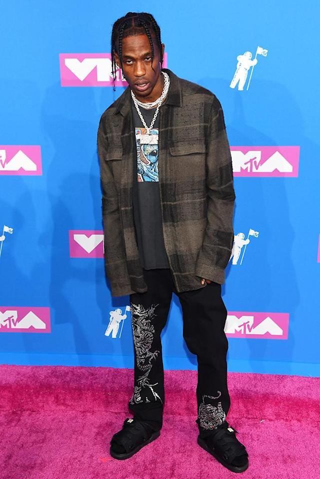 <p>Travis Scott attends the 2018 MTV Video Music Awards at Radio City Music Hall on August 20, 2018 in New York City. (Photo: Nicholas Hunt/Getty Images for MTV) </p>