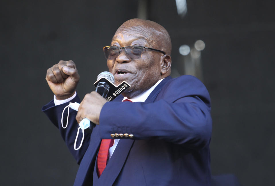Former South African President Jacob Zuma, addresses supporters outside the High Court in Pietermaritzburg, South Africa, Wednesday May 26, 2021 where he faces charges of corruption. Zuma pleaded not guilty to corruption, racketeering, fraud, tax evasion, and money laundering. (AP Photo)
