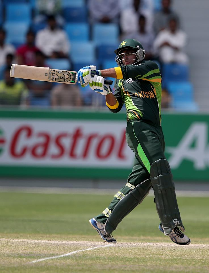 DUBAI, UNITED ARAB EMIRATES - MARCH 01: Imam Ul Haq of Pakistan bats during the ICC U19 Cricket World Cup 2014 Super League Final match between South Africa and Pakistan at the Dubai Sports City Cricket Stadium on March 1, 2014 in Dubai, United Arab Emirates.  (Photo by Francois Nel - IDI/IDI via Getty Images)
