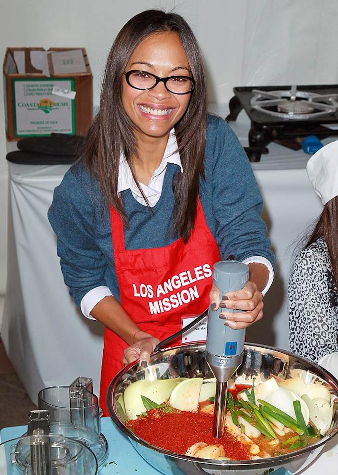 "Newly single Zoe Saldana encouraged her Twitter followers to donate to the cause. ""@TheLAMission rt now. Est. to feed approx 4k people. We could feed more if u log on to feedLANow.org & donate! Happy Thanksgiving!"" she tweeted. (11/23/2011)"