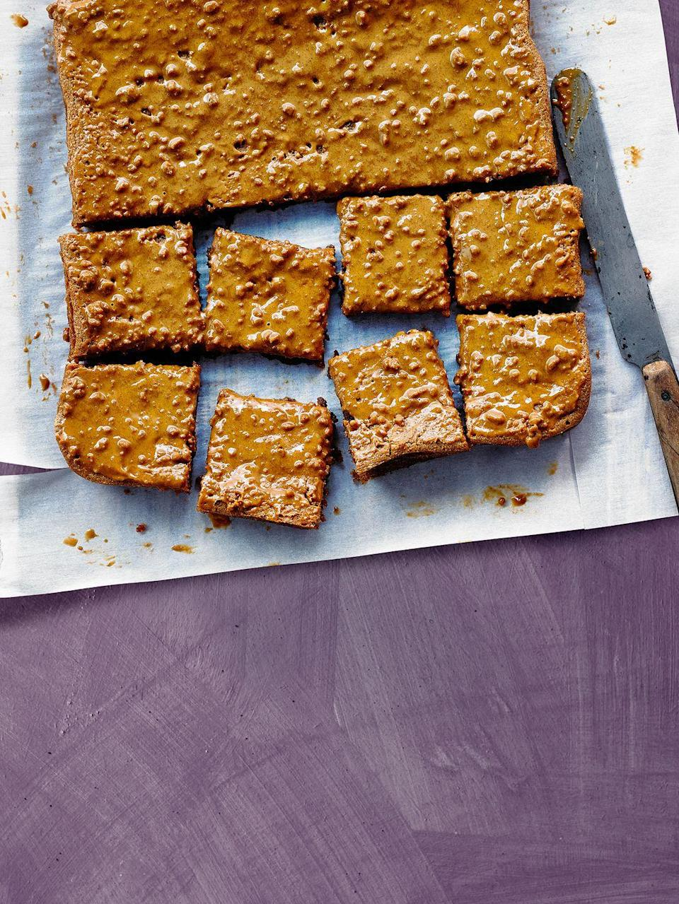 """<p>Sounds crazy, but this tray bake cake is probably the simplest bake you'll ever make - and it only has three ingredients! A super easy Biscoff recipe. </p><p><strong>Recipe: <a href=""""https://www.goodhousekeeping.com/uk/food/recipes/a26943194/biscoff-traybake/"""" rel=""""nofollow noopener"""" target=""""_blank"""" data-ylk=""""slk:Three-ingredient Biscoff tray bake"""" class=""""link rapid-noclick-resp"""">Three-ingredient Biscoff tray bake</a></strong></p>"""