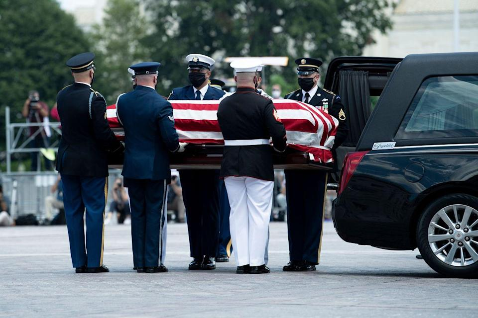 <p>The flag-draped casket of US congressman and civil rights icon John Lewis(D-GA) arrives at the US Capitol in Washington, DC July 27, 2020.</p>