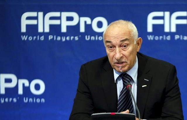 FIFPro President Piat addresses a news conference in Brussels