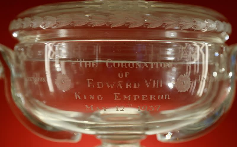 Coronation Cup designed to commemorate the coronation of Edward VIII before his abdication of the throne is seen ahead a Sotheby's auction, at the Thomas Goode gallery