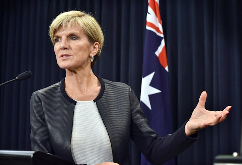 Australian Foreign Minister Julie Bishop speaks at a press conference with Iraq Foreign Minister Ibrahim Al-Jaafari in Canberra on February 12, 2015 (AFP Photo/Mark Graham)