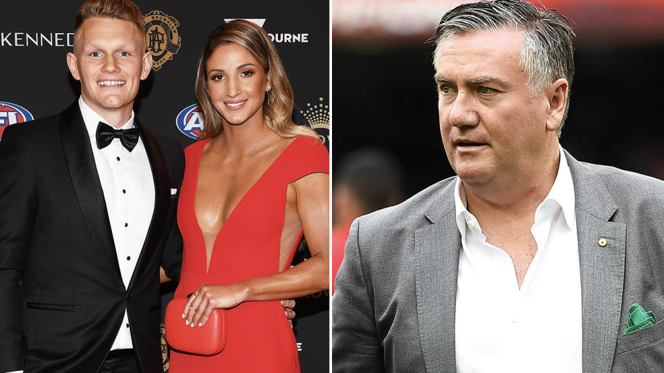 Adam Treloar and wife Kim Ravaillion, pictured here at the 2018 Brownlow Medal.
