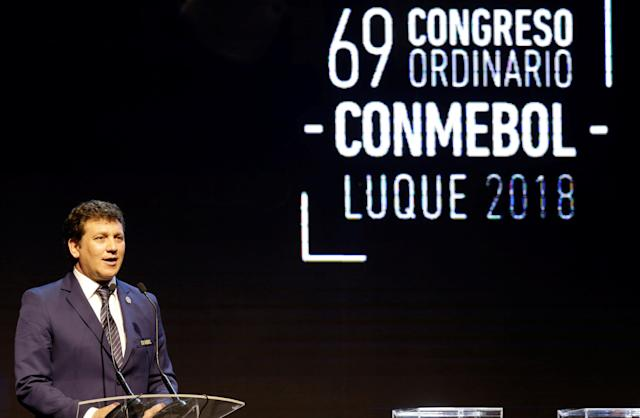 CONMEBOL President Alejandro Dominguez speaks after being re-elected as the new president during the 69th CONMEBOL Ordinary Congress at their headquarters in Luque, Paraguay May 11, 2018. REUTERS/Jorge Adorno