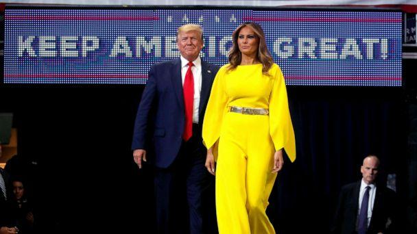 PHOTO: President Donald Trump and first lady Melania Trump arrive on stage to formally kick off his re-election bid with a campaign rally in Orlando, Fla., June 18, 2019. (Carlos Barria/Reuters)