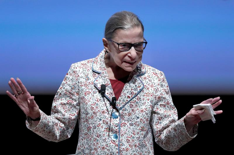Supreme Court Justice Ruth Bader Ginsburg acknowledged audience applause during her visit to the University of Chicago earlier this month.
