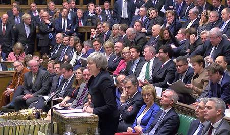 British Prime Minister Theresa May addresses Parliament ahead of the vote on May's Brexit deal, in London, Britain, January 15, 2019 in this screengrab taken from video. Reuters TV via REUTERS