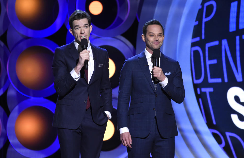 Hosts John Mulaney, left, and Nick Kroll speak at the 33rd Film Independent Spirit Awards on March 3, 2018, in Santa Monica, Calif. (Photo by Chris Pizzello/Invision/AP)