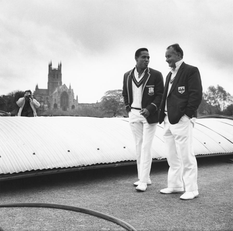 West Indian cricketer Garfield Sobers chatting with English cricketer Don Kenyon (1924 - 1996), May 1966. (Photo by Evening Standard/Hulton Archive/Getty Images)