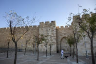 A Palestinian man walks with his dog during a three-week nationwide lockdown to curb the spread of the coronavirus in Jerusalem's old city, Sunday, Sept. 27, 2020. (AP Photo/Ariel Schalit)