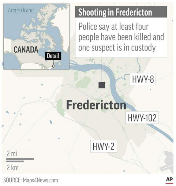 PHOTO: A map locates Fredericton, Canada, where a shooting has killed at least four people according to police, Aug. 10, 2018. (AP)