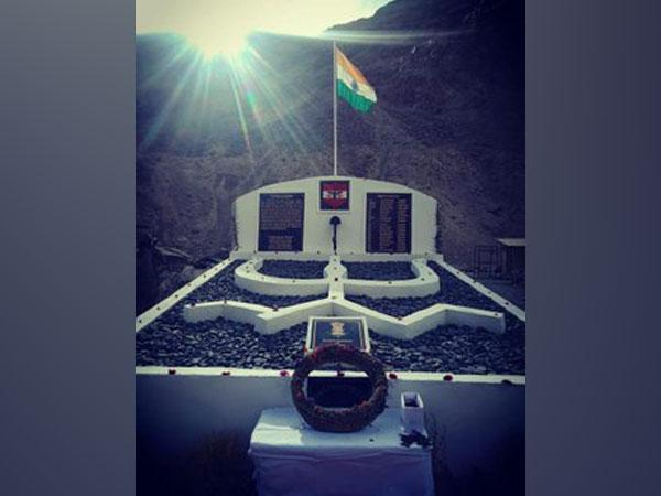 The memorial built in Ladakh for the 20 Indian soldiers who lost their lives in action against the Chinese Army in the Galwan Valley.