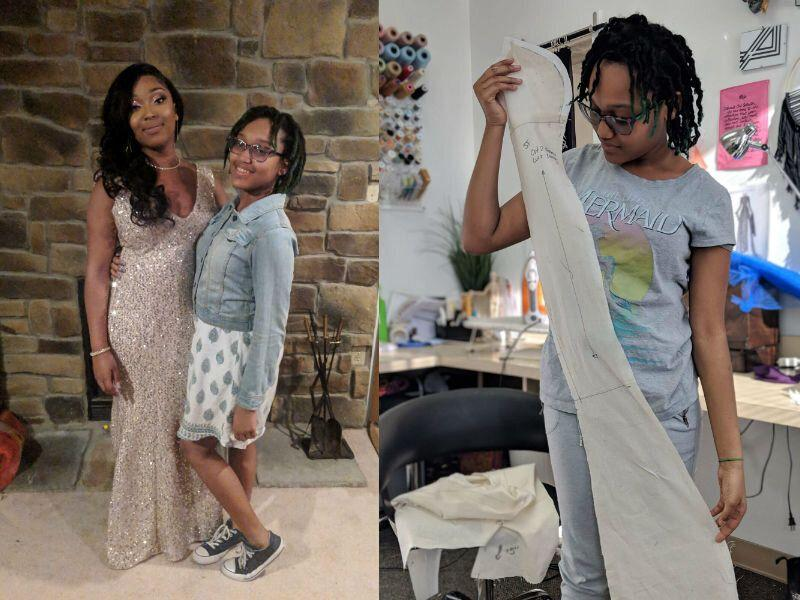76204207d88 14-year-old makes sister custom dress to wear to prom