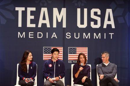 Sep 26, 2017; Park City, UT, USA; From left LA 2028 athlete advisory commission members Maia Shibutani , Alex Shibutani and LA 2028 vice chair Janet Evans and chairman Casey Wasserman speak during the 2018 U.S. Olympic Summit at Grand Summit Hotel. Mandatory Credit: Jerry Lai-USA TODAY Sports